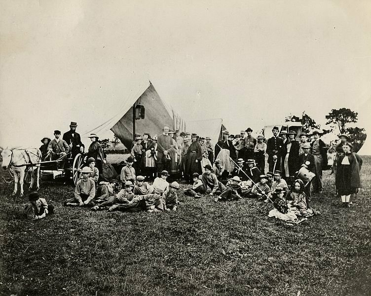 1861: Picture of Gunnery Camp, the first organized American summer camp