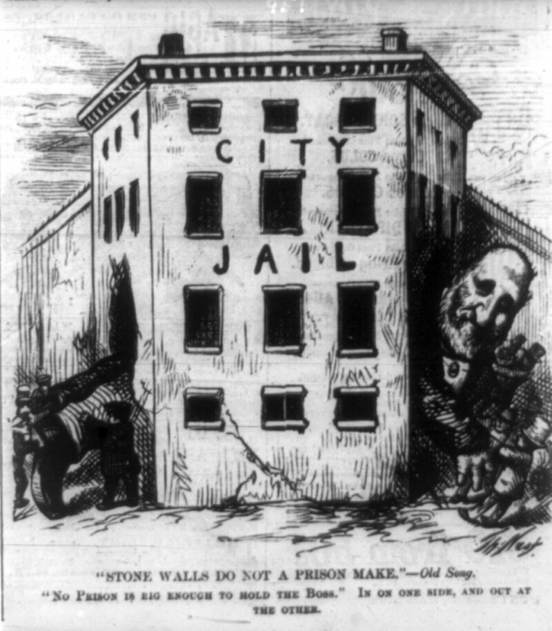 A Thomas Nast cartoon of Boss Tweed escaping jail.