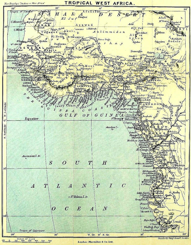 "Equatorial West Africa, from West African Studies, described to Kingsley by British doctors as ""the deadliest spot on earth."" (Image: Courtesy of The Victorian Web)"