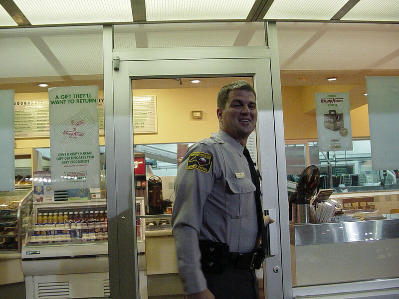 A North Carolina police officer visits a Krispy Kreme during his first day on the job.