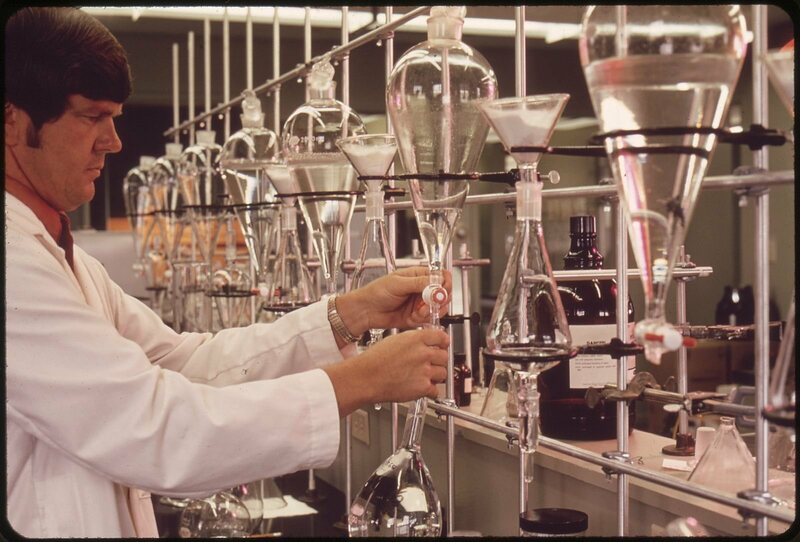 A 1970s-era chemistry setup, demonstrated by an EPA worker.