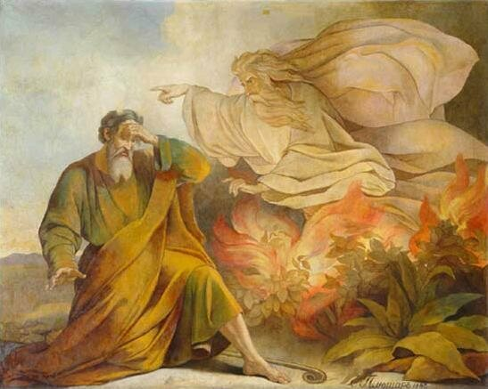God appears to Moses as a burning bush, as depicted by Eugène Pluchart in 1848.