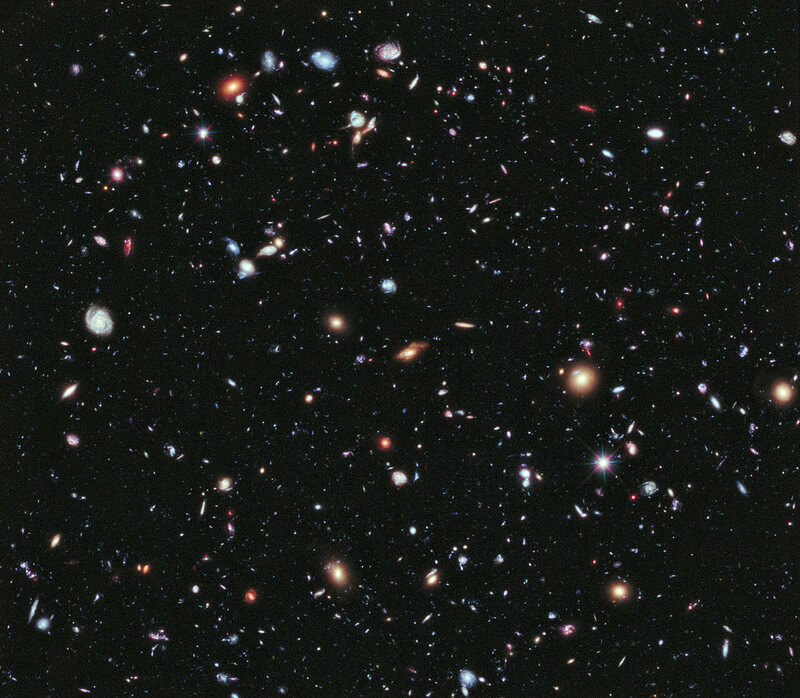 The deepest image of the universe we have, obtained by the Hubble Space Telescope in 2012.