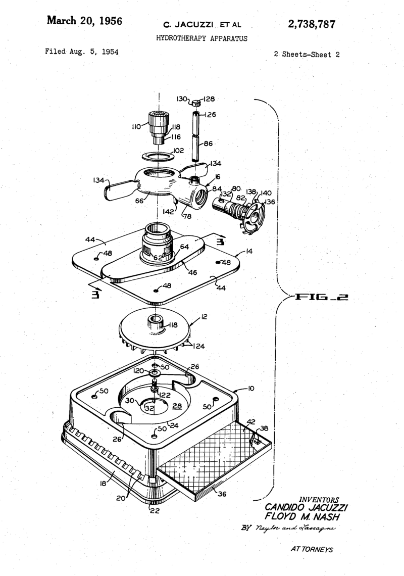 A 1954 patent for a Jacuzzi hydrotherapy apparatus