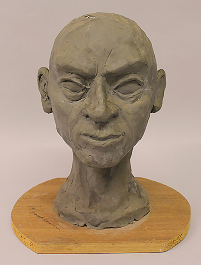"""A painted papier mache bust on chipboard base, signed Ray Harryhausen in ink, 12"""" high               £50 – 100"""