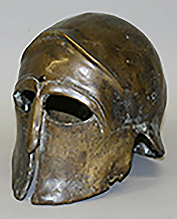 """A bronze mask from Clash of the Titans 1981. 8"""" high         £100 – 150"""