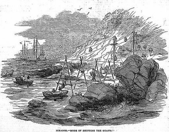 An 1844 illustration shows shipping methods at Ichaboe Island.