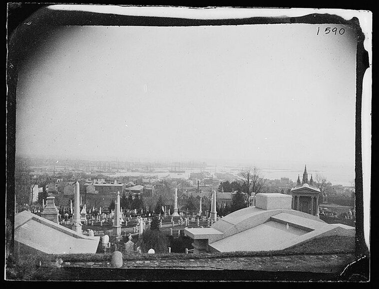 An early photograph by George Bradford Brainerd of the Mount, Greenwood, Brooklyn, ca. 1872-1887.