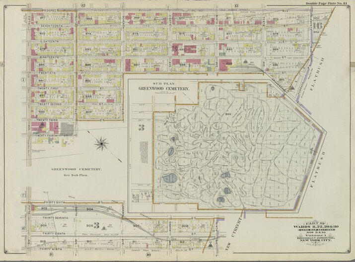 Map of Greenwood cemetery and surrounding streets, c. 1899
