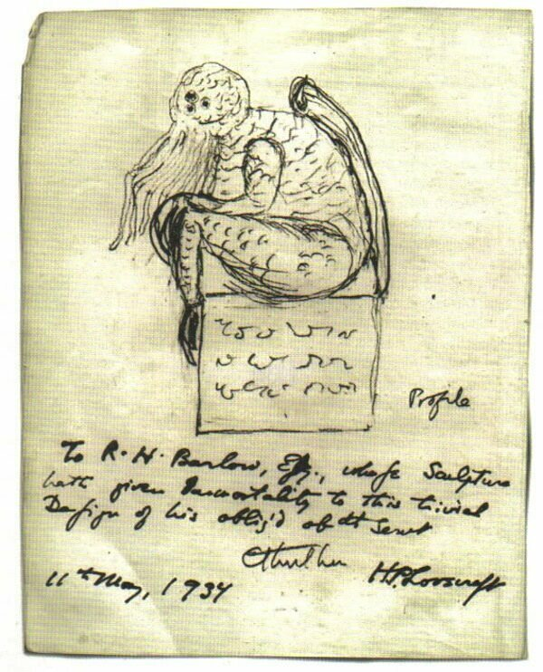 Wilcox's statue as envisioned by Lovecraft himself, 1937.