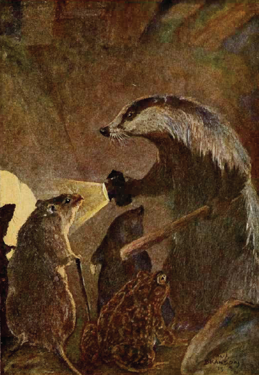 In this illustration from The Wind in the Willows, by Paul Bransom, Mr. Badger leads Ratty around his beloved underground domain.