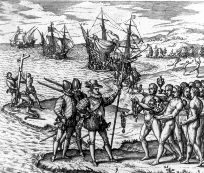 An illustration of Columbus landing on Hispaniola, Dec. 6, 1492.