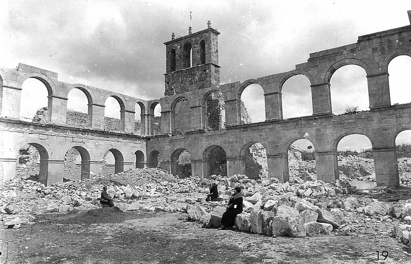 Dismantled cloister of the Monastery of Ovila 1930s