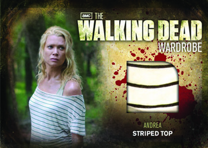 A card featuring a scrap of wardrobe from The Walking Dead.