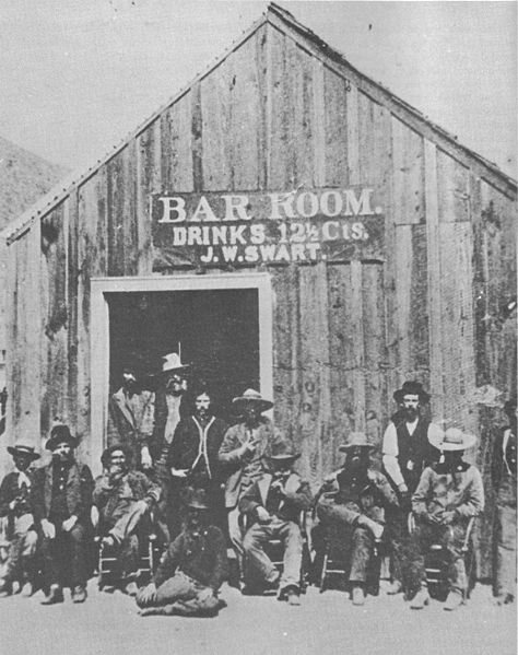 J.W. Swart's Saloon in Charleston, Arizona in 1885, before the minimum drinking age, when bouncers forcibly ejected brawlers