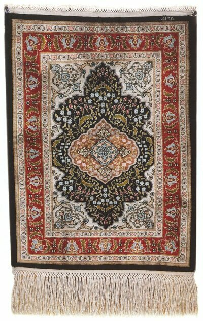 Silk Hereke rug. Over 1200 knots per square inch
