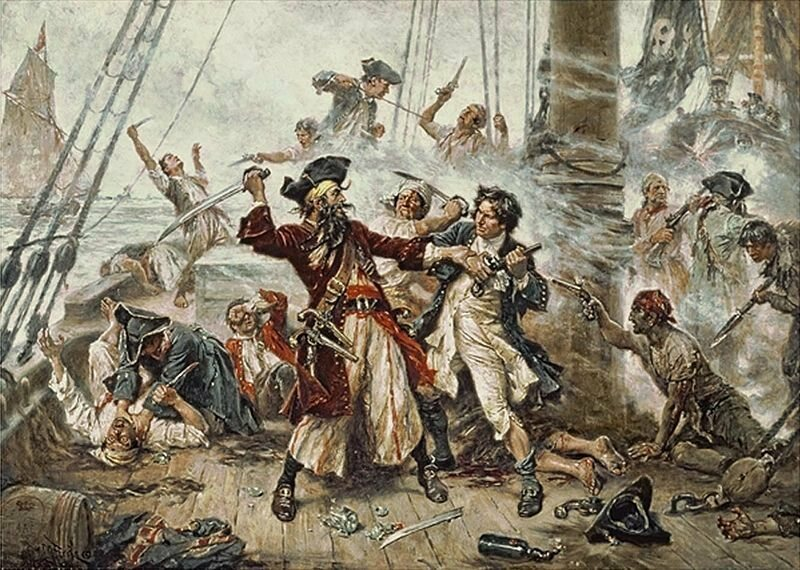 Capture of the Pirate, Blackbeard, 1718 depicting the battle between Blackbeard the Pirate and Lieutenant Maynard in Ocracoke Bay, from 1920
