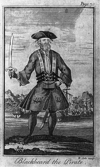 An engraving of Blackbeard the Pirate