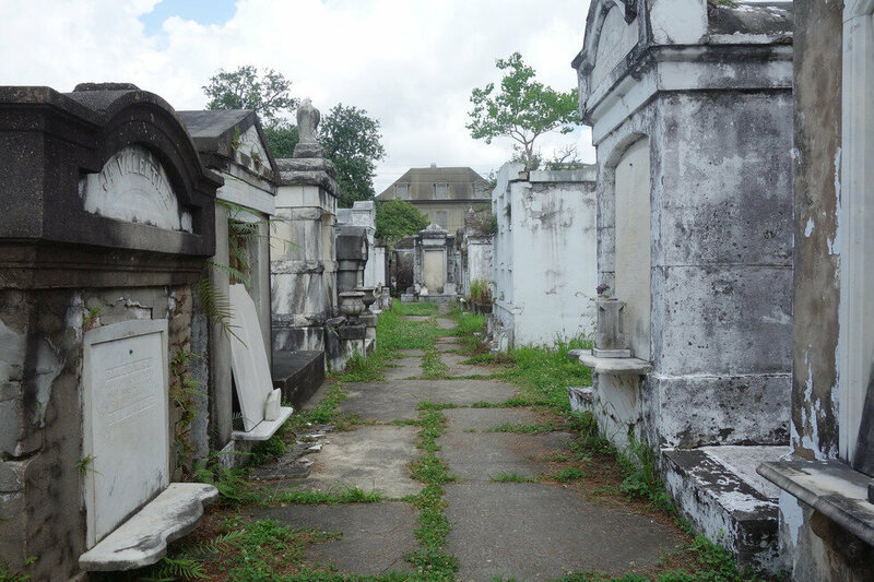 An alleyway in the City of the Dead, aka Lafayette Cemetery.
