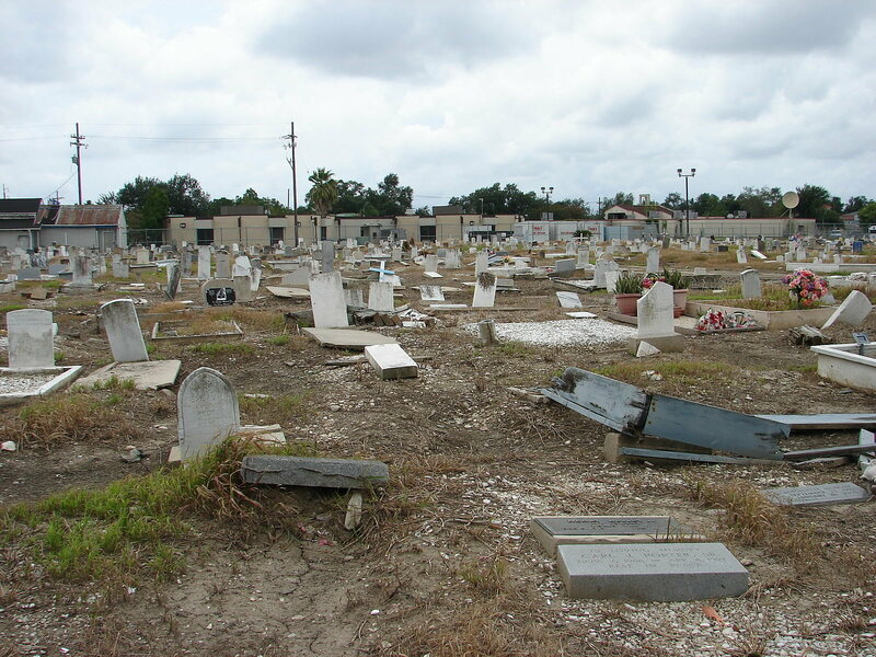 A (thankfully) dry day at Holt Cemetery, a rare New Orleans below-ground burial site.