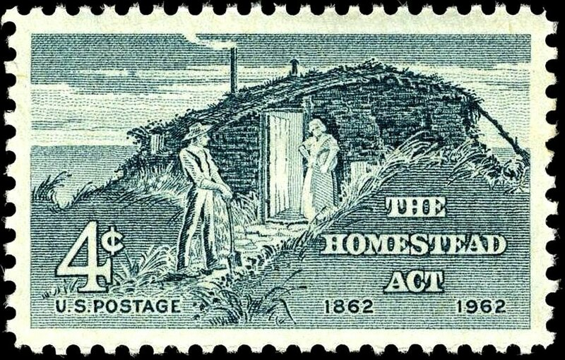 A U.S. Postage stamp celebrating the hundred-year anniversary of the Homestead Act.