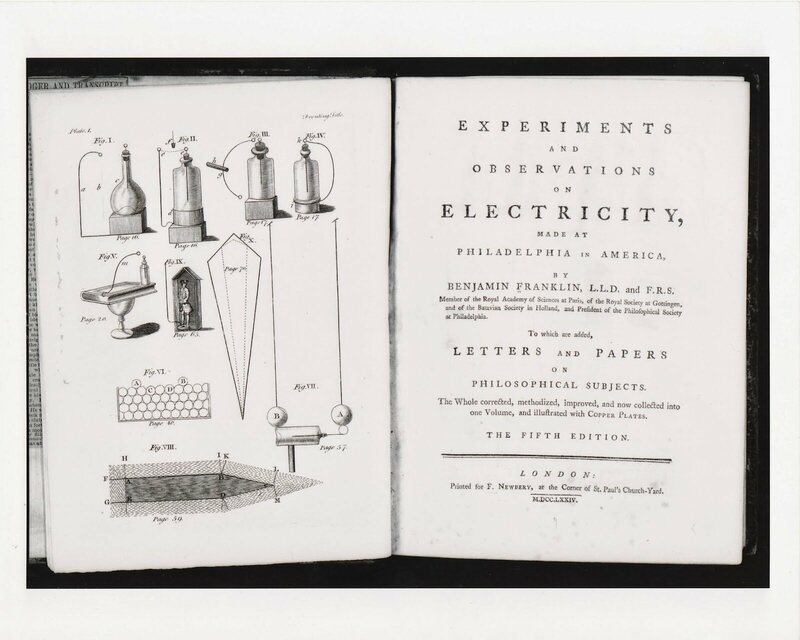 "The frontispiece and title page of Franklin's ""Experiments and Observations on Electricity,"" originally published in 1754."