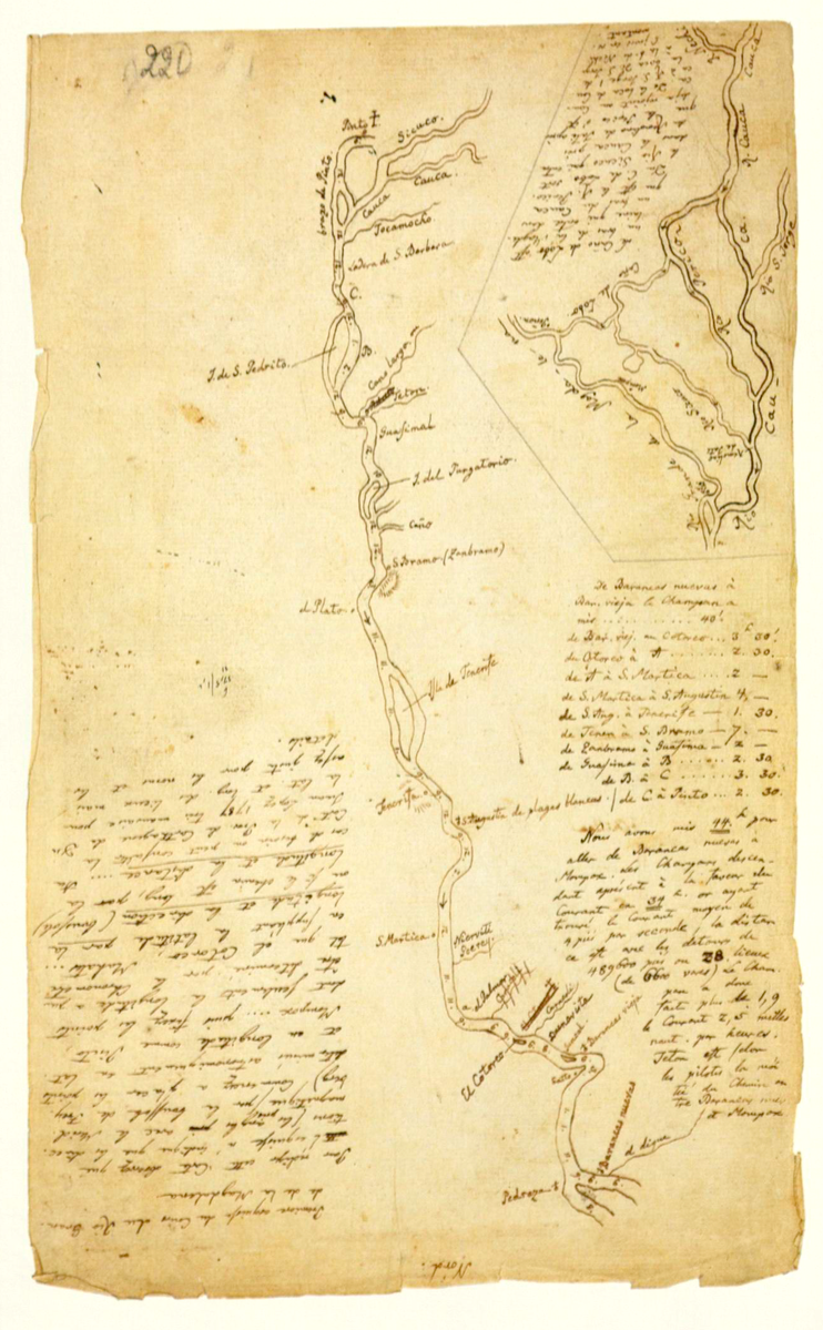 A map of the Rio Grande de Magdalena, in Colombia, from Humboldt's 1801 diary.