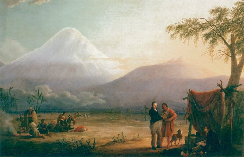 Humboldt, his research assistant Aimé Bonplant, and a South American guide in front of Chimborazo.