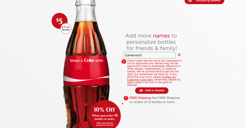 A screenshot of a more recent Share a Coke attempt, taken January13th, 2016.