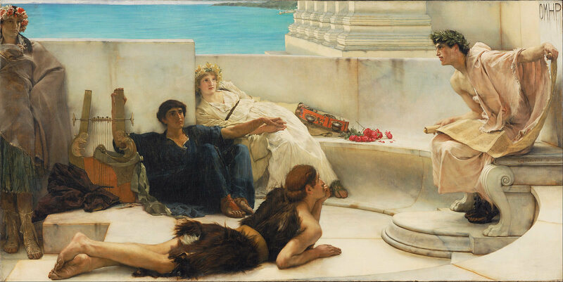 A Victorian-era painting, by Lawrence Alma-Tadema, of friends reading aloud to each other way back in Homeric Greece.