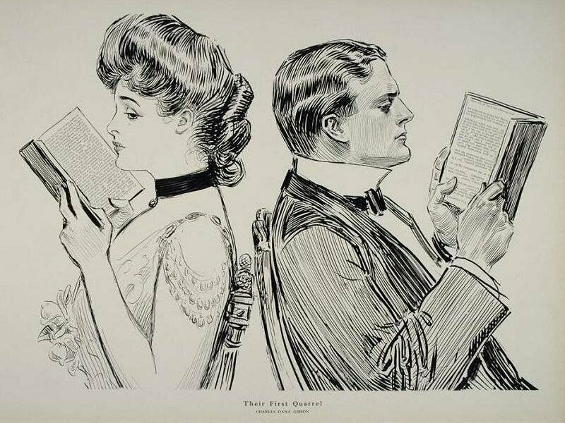 "In ""Their First Quarrel,"" by Charles Dana Gibson, reading alone is a sign of rough times."