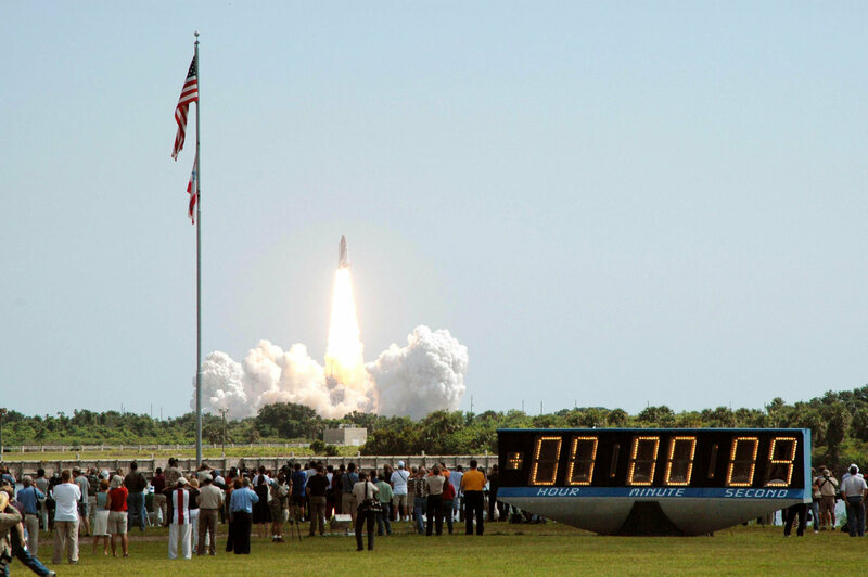 The countdown clock, switching into elapsed time mode after the 2005 launch of Space Shuttle Discovery.