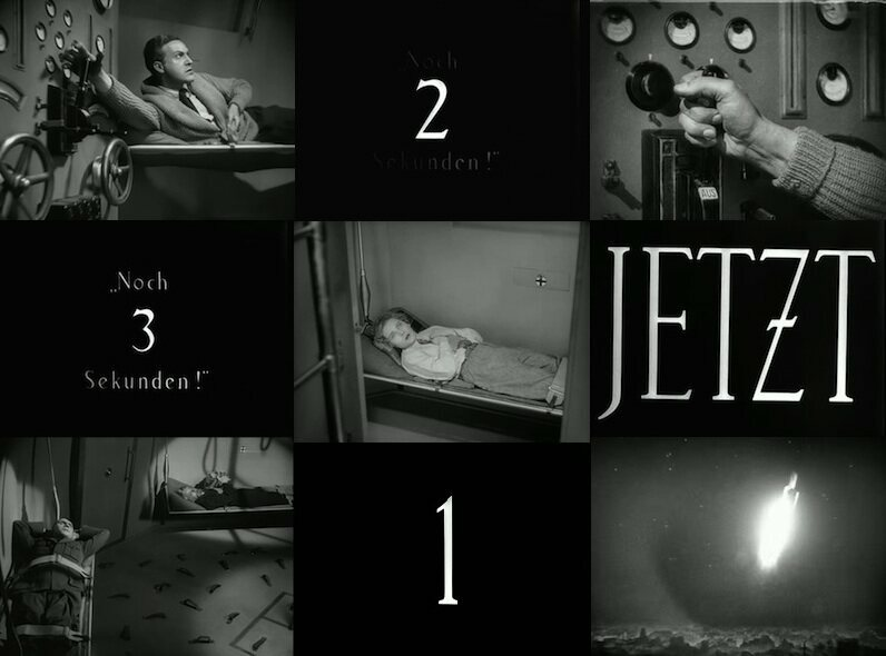 A series of images from the countdown sequence of Fritz Lang's Woman in the Moon.