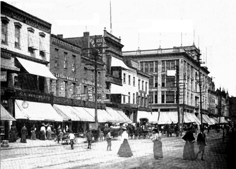 A Woolworth's (left) among other shops in Scranton, Pennsylvania, at the turn of the 20th century.