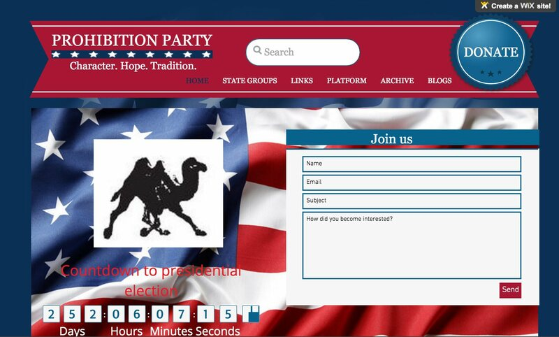 The Prohibition Party's current homepage. (Screenshot: prohibitionparty.org)