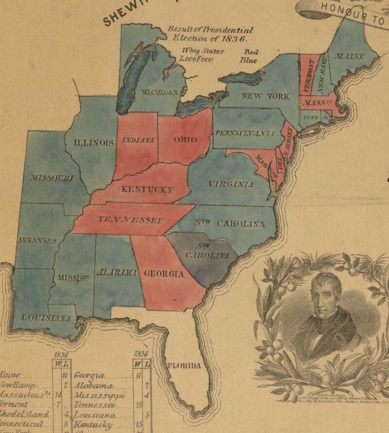 Unfortunately Van Buren Ended Up Being Regarded As A Less Than Stellar President This Is Where The Phrase At The Top Right Of This Map Sober Second