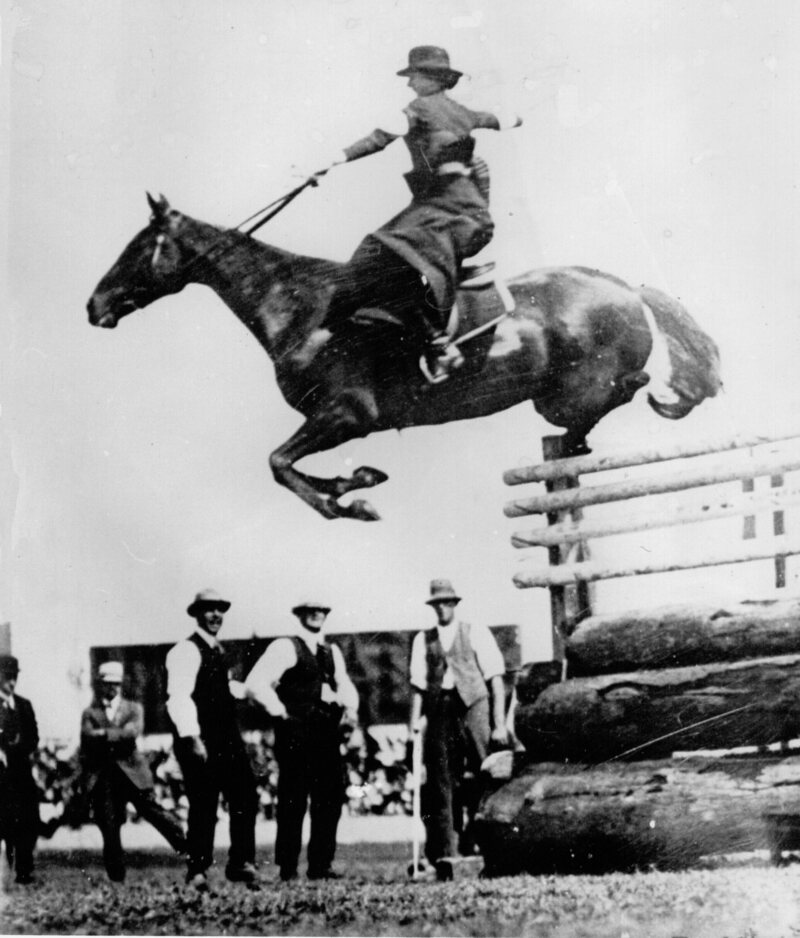"Sidesaddler Esther Stace clearing 6'6"" at the Sydney Royal Easter Show in 1915."