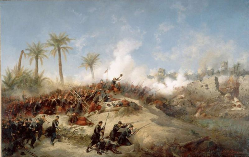 French Zouaves colonizing Algeria, as depicted in an 1849 painting by Jean-Adolphe Beauce.