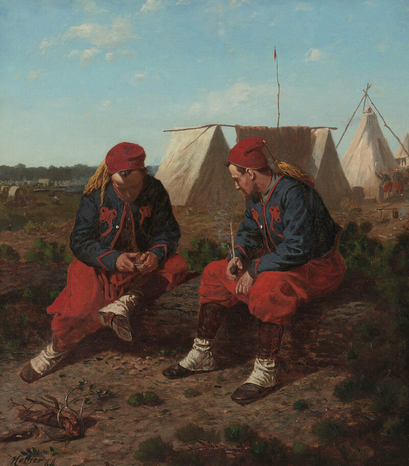 """The Brierwood Pipe,"" an 1864 painting by Winslow Homer, depicts two Zouaves from the 5th New York regiment."