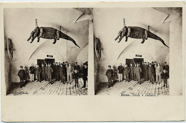 A stereoscope of proud Brno citizens and their conquest.