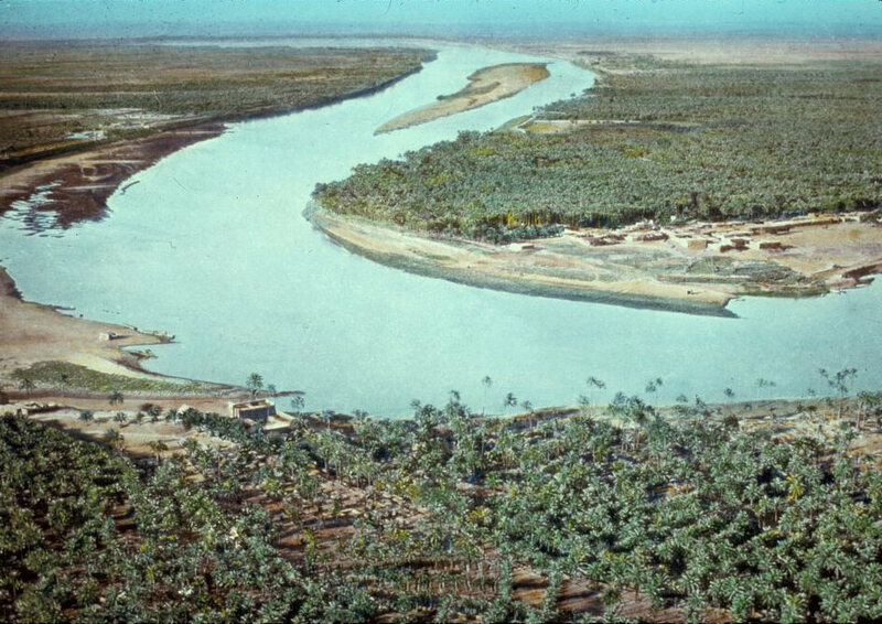 Iraq (Babylonia). Tigris River, air, showing palm groves on its banks