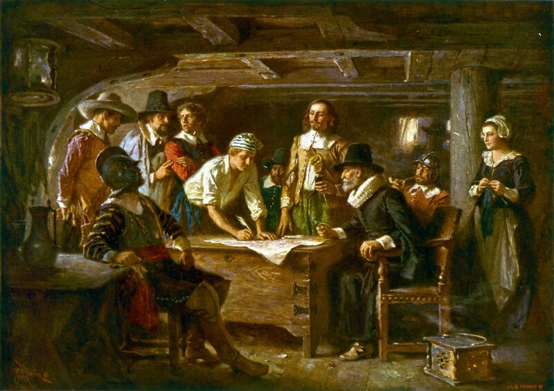 Jean Leon Gerome Ferris's rendering of the signing of the Mayflower Compact. Each person to hold this quill would have done so in a way suited to their gender, occupation, and hometown.