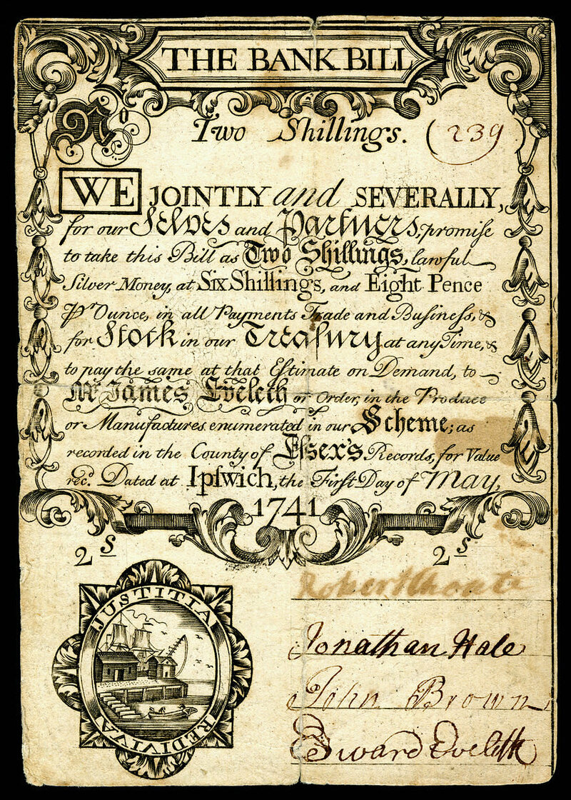 Colonial currency, featuring a mix of old and new-style hands.