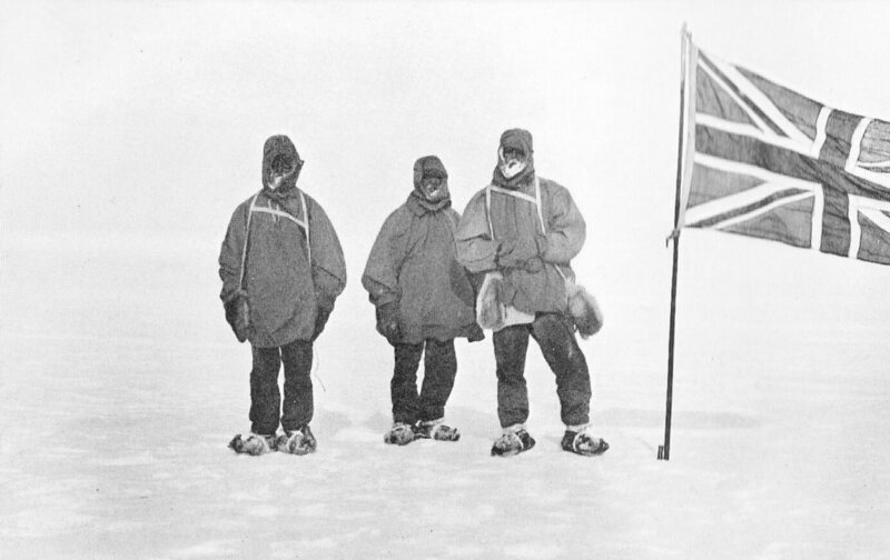 Photograph of Eric Marshall, Frank Wild and Ernest Shackleton at their Farthest South latitude, 88°23'S. Nimrod expedition 9 January 1909