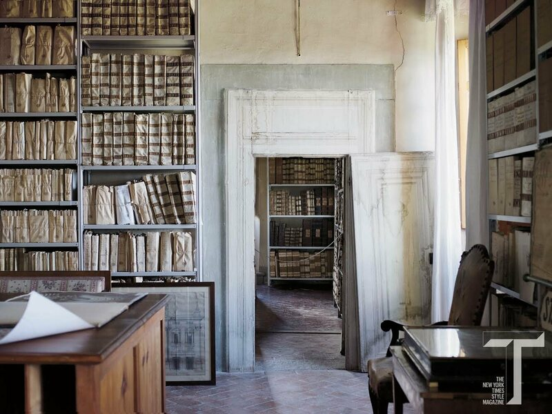 One of six archival rooms on the first floor of Tuscany's Villa le Corti. All together, they hold 4,000 feet of volumes containing the Corsini family's history, from the 1360s through the 1960s.