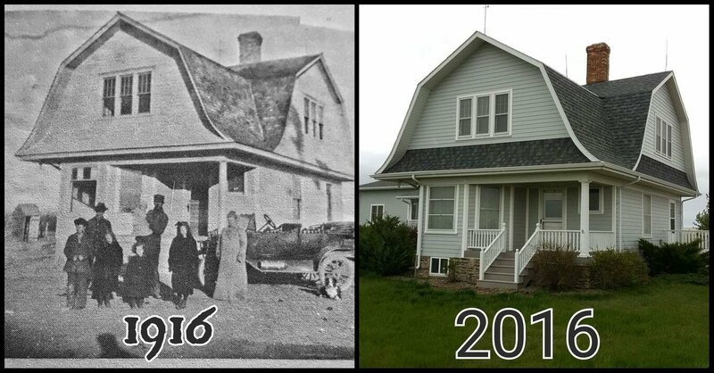 Reddit user RealHotSauceBoss's grandfather's house, in 1916 and 2016.