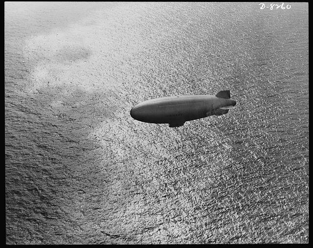 A U.S. Navy blimp cruises over the Atlantic in 1943.