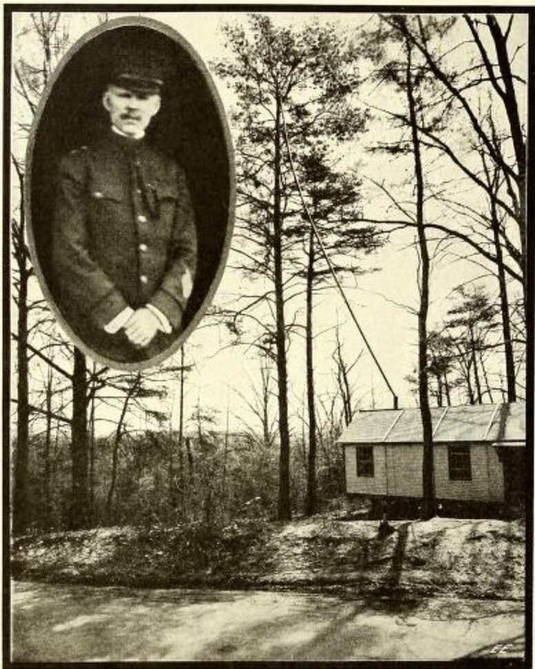 Major General George O. Squier, and the portable house he experimented out of (note the hooked-up oak).