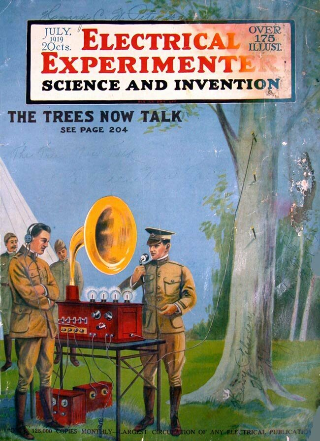 """George O. Squier's floraphone, illustrated on the cover of July 1919's """"Electrical Experimenter."""""""