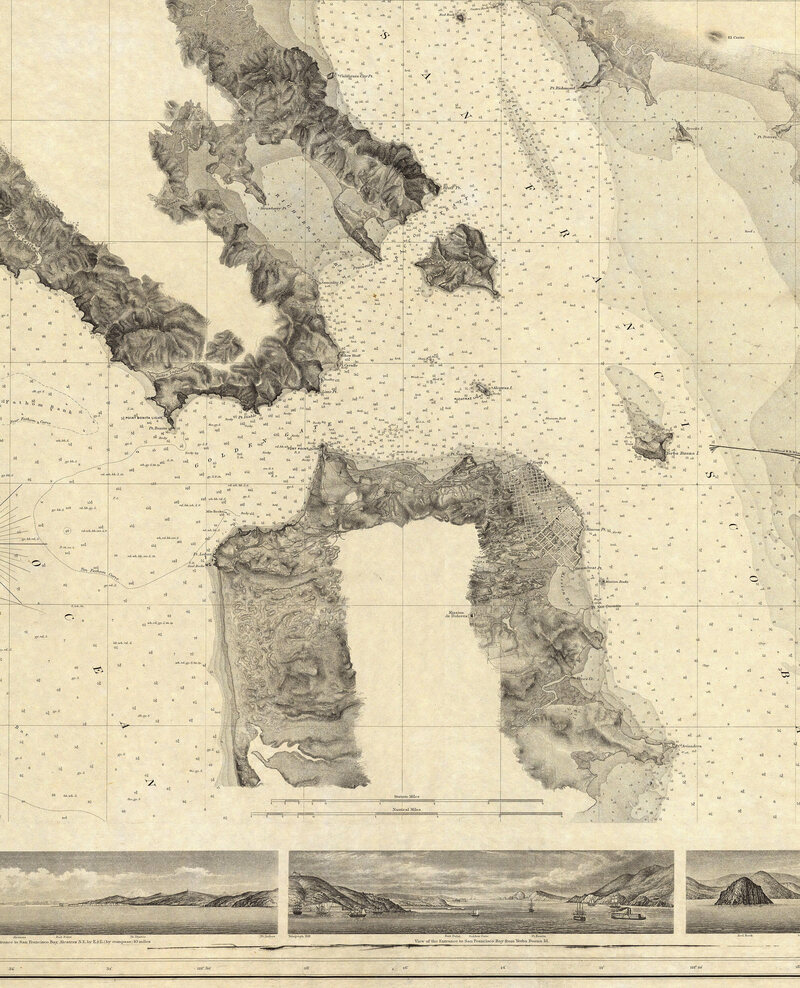 37.7166° N, 122.2830° W, Alexander Dallas Bache, Entrance to San Francisco Bay California, 1859.